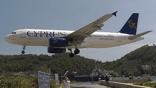 Cyprus A320-232 Landing and Takeoff at Skiathos, the Second St Maarten!