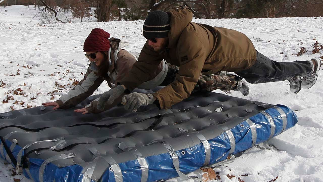 Air Mattress Plus Duct Tape Makes For Sledding Fun In