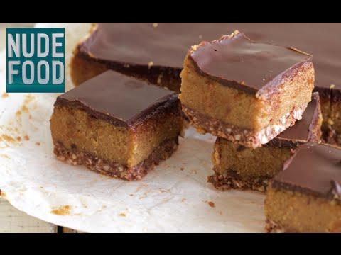 Healthier Date Cashew Caramel Chocolate Slice - dairy, gluten and refined sugar free!