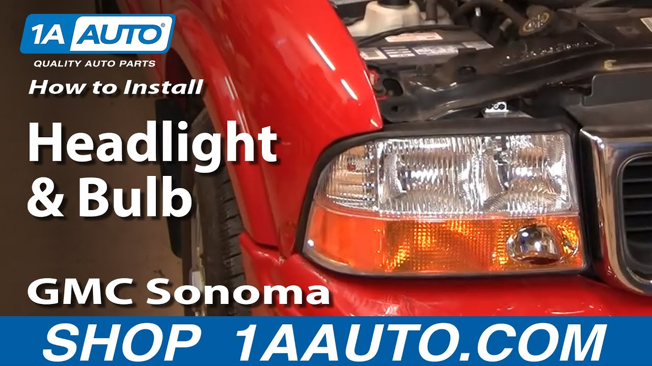 How to install replace headlight and bulb 98 04 gmc sonoma s15 1aauto com youtube
