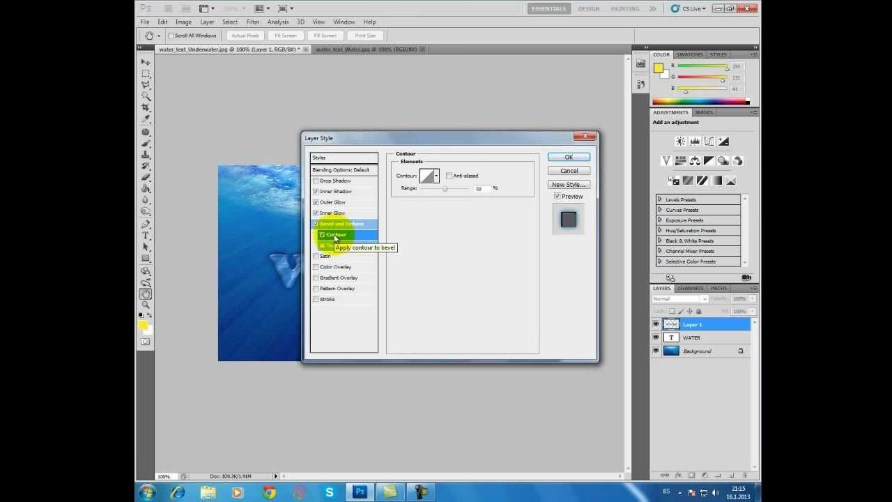 Cool water text effect in Photoshop CS5 TUTORIAL - YouTube