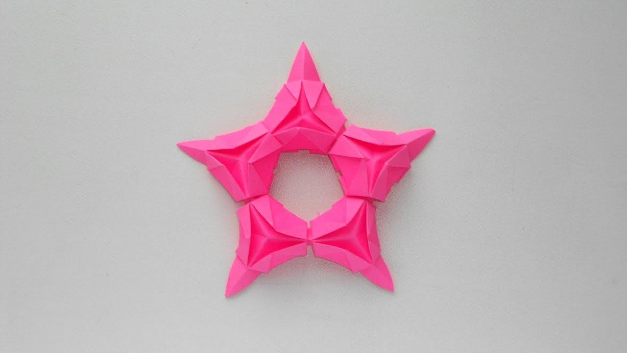 Оригами Звезда из бумаги к 23 февраля, 9 мая, Новый год