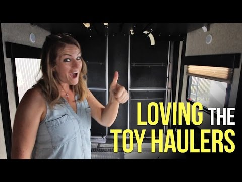 Checking out Toy Haulers at RV 4 Seasons for RV Living