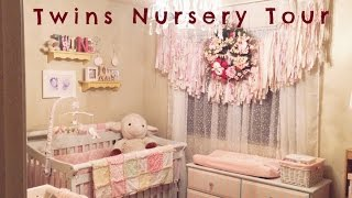 Shabby Chic Nursery Tour | Decoration Ideas For  Twin Girl's Pink Nursery