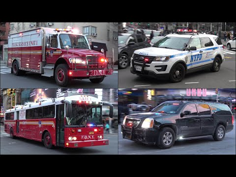 Fire trucks, Police cars & Ambulances responding - BEST OF DECEMBER 2017 - Siren, horn & action