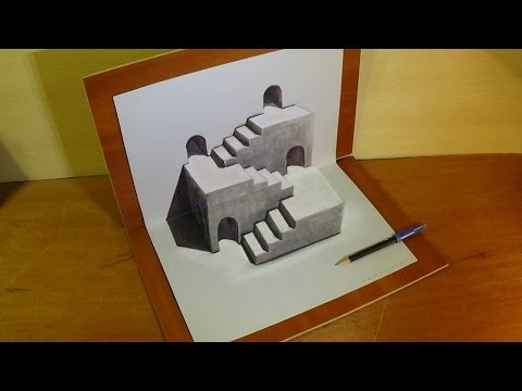 Trick Art 3D Drawing - How to Draw 3D Stairs Illusion on Paper