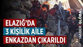 Elazığ Gezin'deki 3 Kişilik Aile Enkazdan Sağ Çıkarıldı