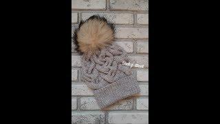 Зимняя шапка с объемными косами. Hat. Knitting