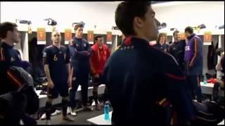 Vestuario de España antes de la final del Mundial