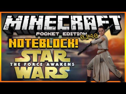 ★MINECRAFT POCKET EDITION 0.14.0 - STAR WARS AWAKENS NOTEBLOCK SONG (MCPE REDSTONE)★