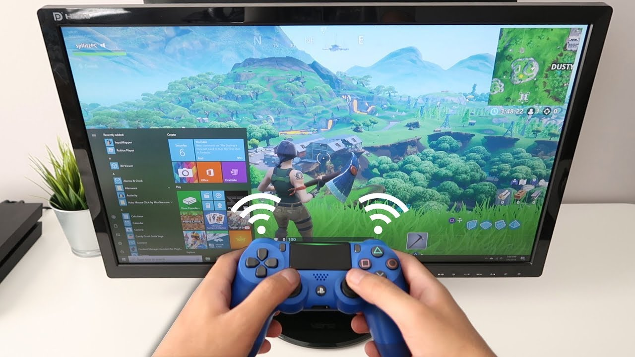 How to CONNECT PS4 CONTROLLER to PC WIRELESS! (Fortnite) (EASY METHOD)
