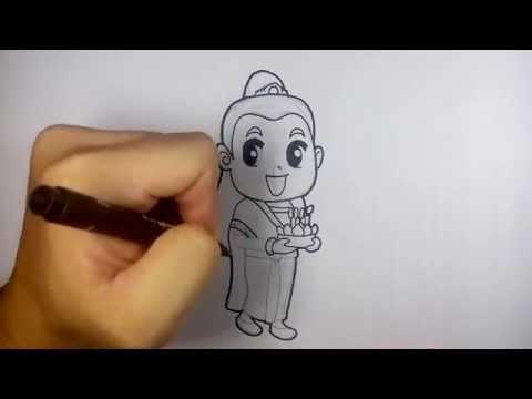 ผู้หญิง ชุดไทย ถือกระทง ลอยกระทง วาดการ์ตูน กันเถอะ สอนวาดรูป การ์ตูน