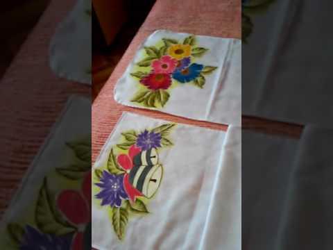 Pintura em tecido - caminho de mesa