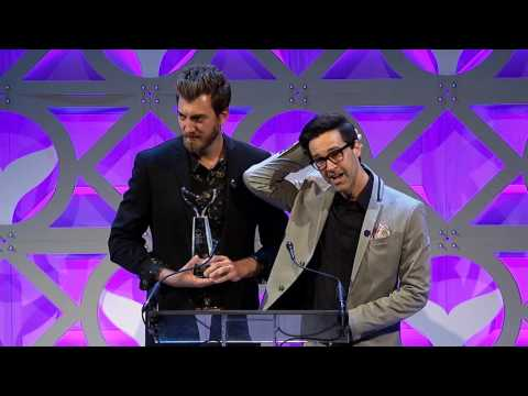 Rhett & Link of Ear Biscuits accept the Shorty Award for Best Podcast