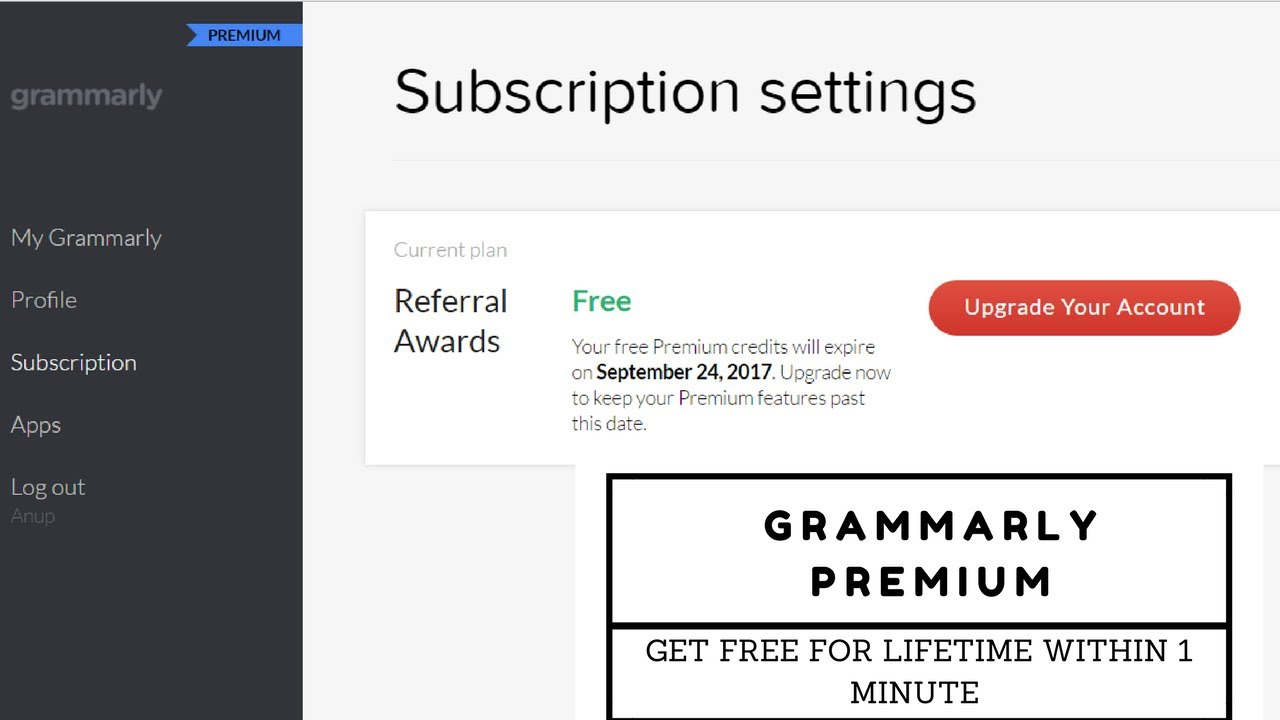 2017 latest trick to Get premium grammarly account for free for lifetime in  1 minute