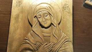 Woodcarving | Carved icon of Virgin Mary  | handmade woodworking| DIY