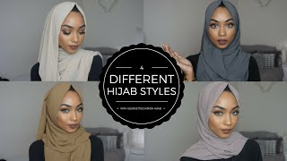4 SIMPLE HIJAB STYLES | WITH GEORGETTE/CHIFFON HIJABS