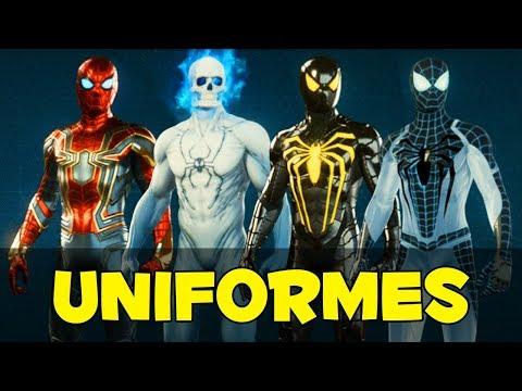SPIDER-MAN PS4 - TODOS OS UNIFORMES!