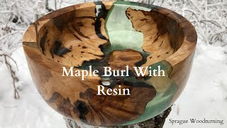 Woodturning - Maple Burl Pieces With Designer Epoxy