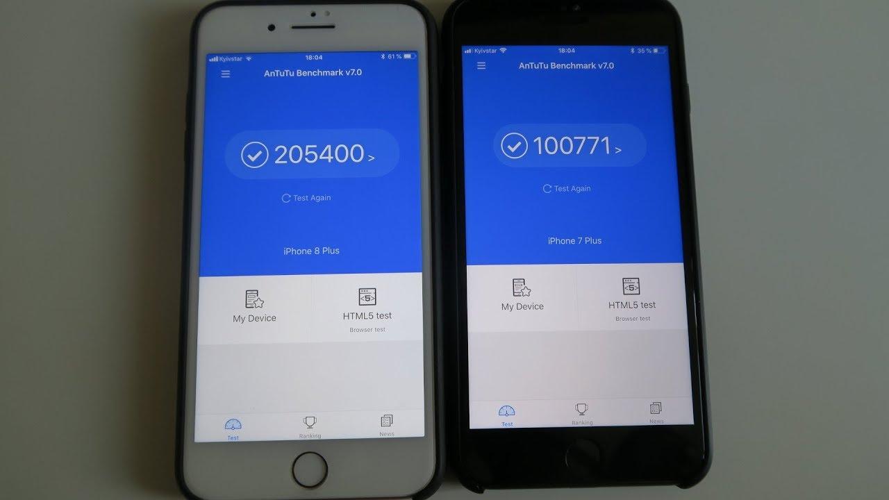 Iphone 8 Plus Vs Iphone 7 Plus Antutu Benchmark Test Youtube