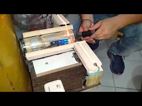 M quina casera cortadora de botellas de vidrio 100 for Cortar cristal para gatera