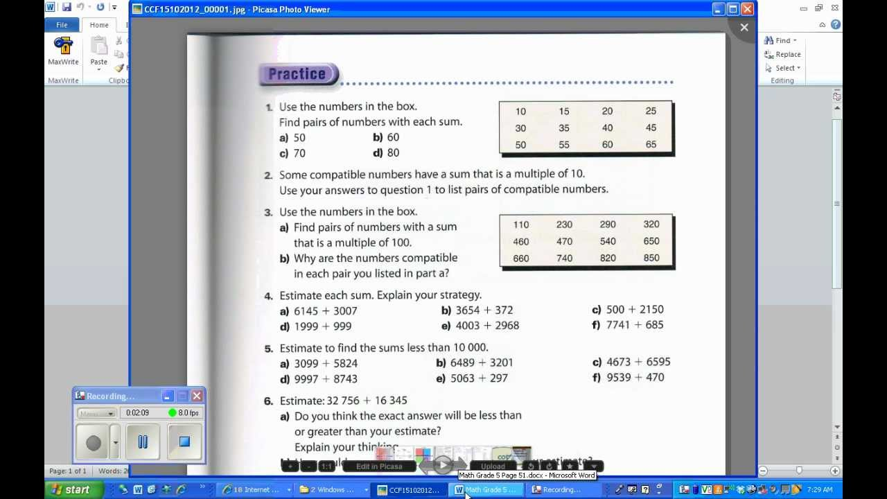 Grade 5 Math Makes Sense Page 51 YouTube – Math Makes Sense 7 Worksheets