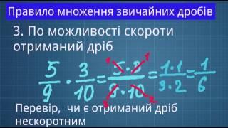 Множення дробів. Математика. 6 клас