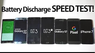 OnePlus 3T & 3 vs Google Pixel vs iPhone 7 vs Galaxy S7 & S7 Edge- Battery Discharge Speed Test!