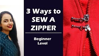 3 Ways to attach Zipper to your outfits| Basic,Lapped and Concealed zipper| Lesson 15