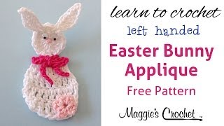 Easter Bunny Applique Free Crochet Pattern - Left Handed