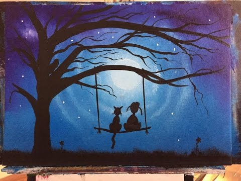 Girl on swing acrylic youtube for Fairy painting easy