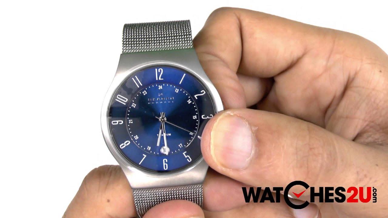 skagen mens blue klassik titanium mesh watch 233xlttn