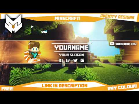 minecraft youtube banner avatar template any colour free photoshop youtube. Black Bedroom Furniture Sets. Home Design Ideas