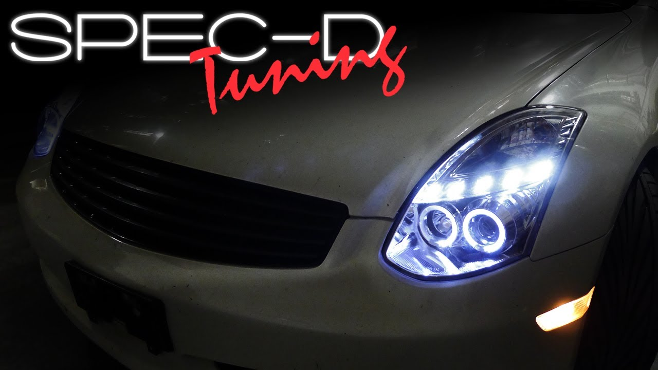 specdtuning installation video 2003 2007 infiniti g35 coupe projector headlights [ 1280 x 720 Pixel ]