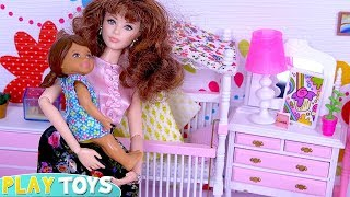 Barbie Babysitter Doll Morning Routine with Sisters Baby Dolls in Dollhouse!