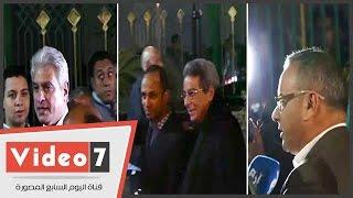 محمود سعد وطاهر أبو زيد والإبراشى والقرموطى فى عزاء كريمة مختار