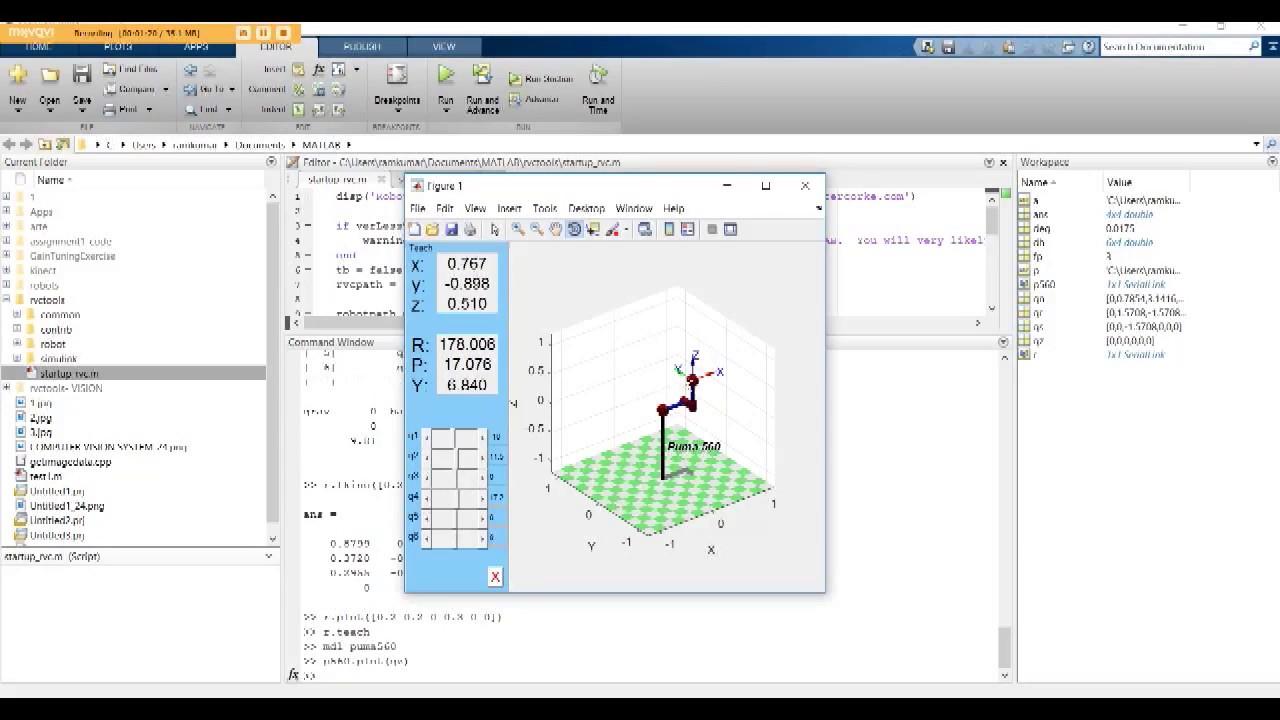forward and inverse kinematics using MATLAB
