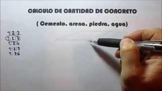 CALCULO DE CANTIDADES DE CONCRETO Cemento, arena, piedra, agua