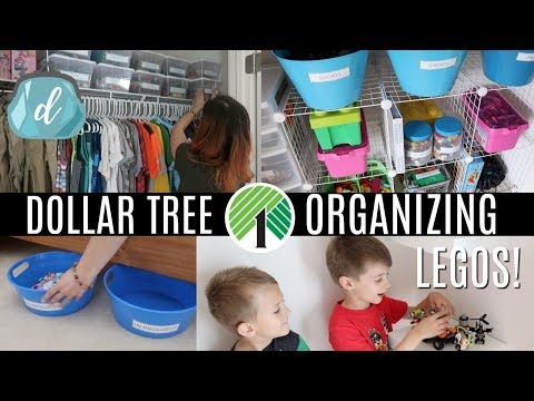 DOLLAR TREE ORGANIZING 💚 Actually realistic LEGO organization for kids!