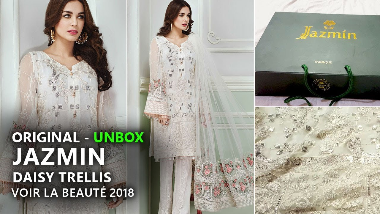 Jazmin Chiffon Collection 2018 - Unbox Daisy Trellis Pakistani Branded  Clothes 832635247