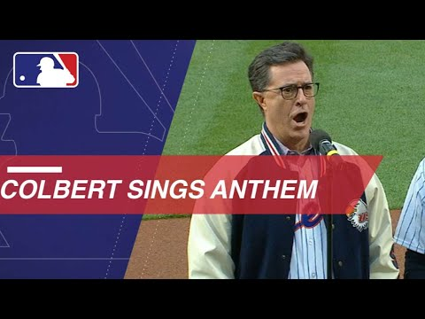 Stephen Colbert performs the national anthem at Citi Field - YouTube