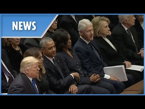 Donald Trump and Hillary Clinton dont shake hands at funeral of George H.W. Bush