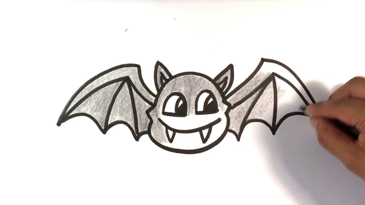 How To Draw A Bat Cartoon Halloween Drawings Youtube