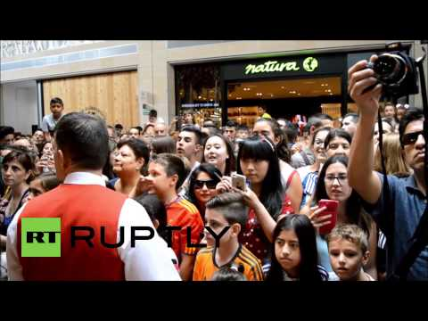 Spain: Fans go wild for Iker Casillas at Futbol Factory store in Madrid