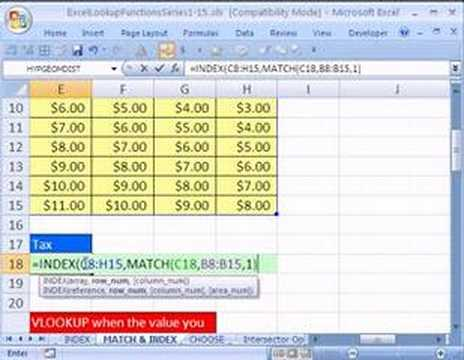 Excel Lookup Series Index Match Functions Two Way Lookup