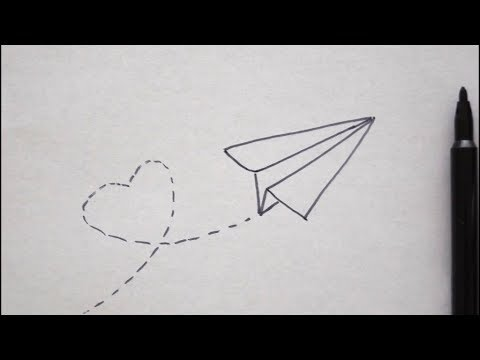 Papier Flugzeug Zeichnen Mit Herz Malen Fur Kinder How To