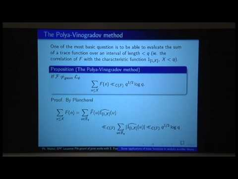 Philippe Michel - Some Applications Of Trace Functions To Analytic Number Theory