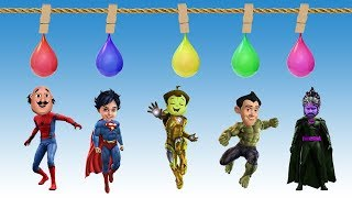 Laern Colors with Balloons Motu Spiderman Shiva Superman Gattu Bahubali Finger Family Song