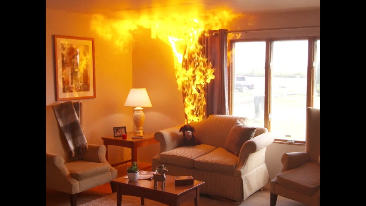 Side By Side View Of Living Room Fires With And Without A
