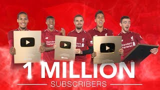 1 MILLION SUBSCRIBERS: Liverpool players gold play button reactions | Thank you for your support